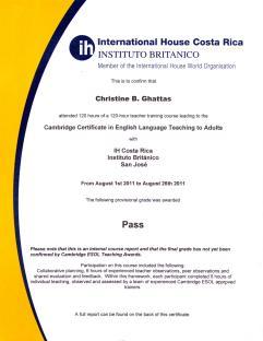 CELTA certificate, front